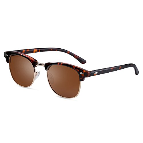 FEIDU Retro Polarized Clubmaster Sunglasses for Men Half Metal Women - Men Sunglasses Leopard