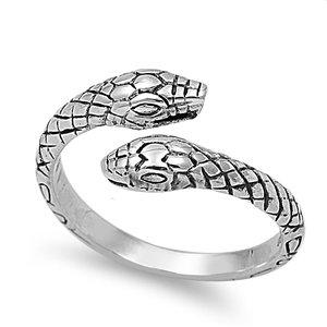 Double Headed Snake (925 Sterling Silver Double Headed Snake 7MM Size 10)