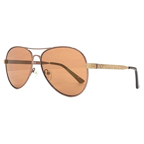 Guess Diamante paillettes temple pilote lunettes de soleil en brun foncé  brillant GU7501 48F 58 Shiny bf85702e1e3a