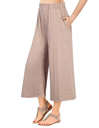 (GlorySunshine Women's Elastic Waist Solid Palazzo Casual Wide Leg Pants with Pockets (S, Khaki))