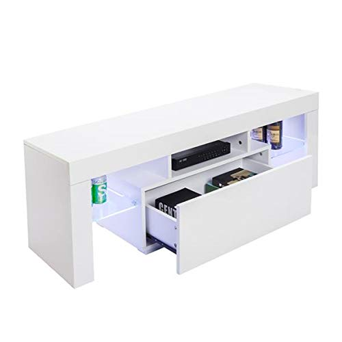 TV Entertainment Center,Modern TV Stand Cabinet,Wine Cupboards TV Table TV Unit Gloss Cabinet with LED Light,Tea Rack Book Shelf Furniture for Living Room Bedroom White