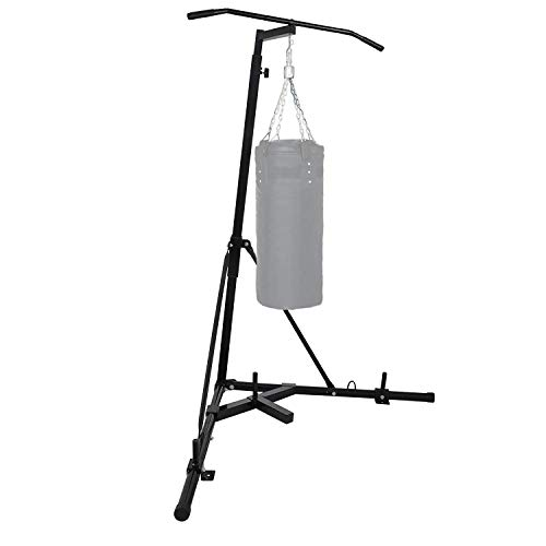 LOVSHARE Free Standing Boxing Bag Stand Foldable Single Station Heavy Bag Stand for Home Fitness (Black +)