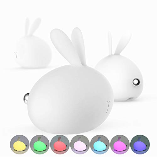 LED Night Light for Kids, Soft Bunny Silicone Baby Nursery Lamp Sensitive Tap Control 7 Single Colors and Multicolor Breathing Light Dual Modes for Children Girls Women Bedroom