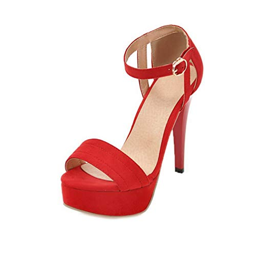 WeenFashion Women's High-Heels Frosted Solid Buckle Open-Toe Sandals, AMGLX010071, Red, 37 ()
