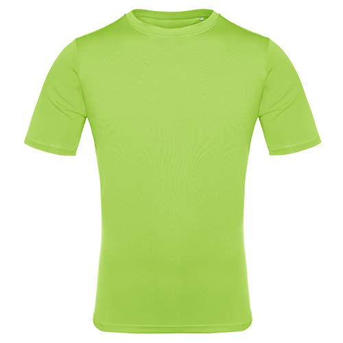 (EAGEGOF Men's Tech Short Sleeve T-Shirt Dri-Fit Performance Athletic Tee Light Lime S )