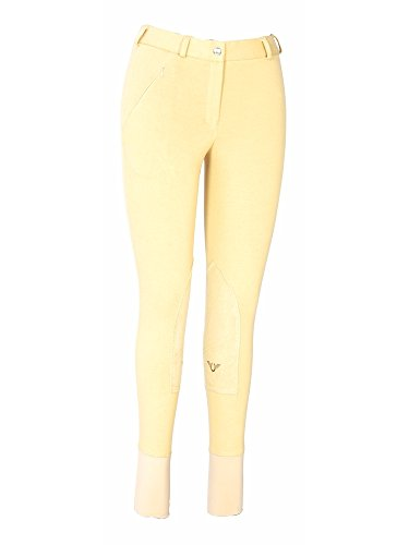 TuffRider Ribbed Lowrise Long Knee Patch Breeches Light Tan 26L