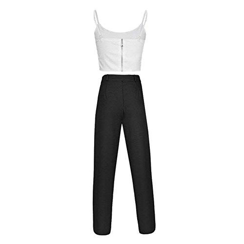 Waist Smanicato V Lunghi Pureed Neck Crop Schienale Eleganti High Nero Pezzi Estivichic Senza Donna Pantalone Set E Moda Top Due Cime Pantaloni Ventre Fionda H8qw1HZ