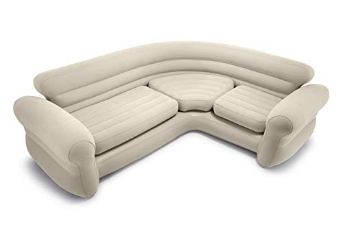 Intex 68575N, Sofa rinconera hinchable, 257x203x76 cm, color crema, three_seats, pvc - 97% rayon - 3%