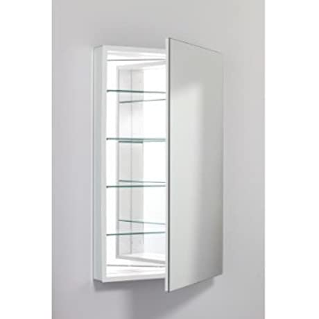 PL Series 40 Left Cabinet With Electrical Outlet Mirror Type Plain Mirror Interior Finish White Size 24