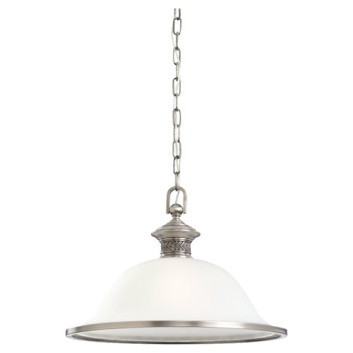 Sea Gull Lighting 65350-965 Single-Light Laurel Leaf Pendant, Etched Ripple Glass Shade, Antique Brushed Nickel