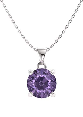 Diamondere Natural and Certified Iolite Solitaire Petite Necklace in 14k White Gold | 0.40 Carat Pendant with Chain ()
