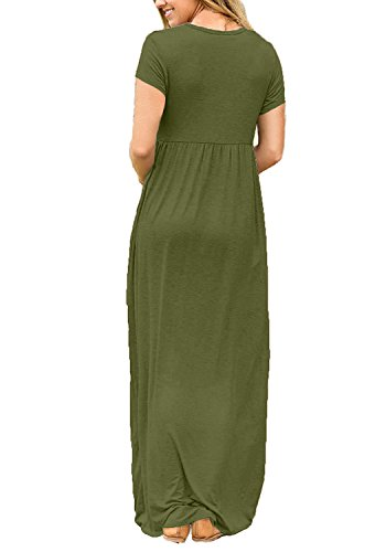 Dresses Dress Short succlace Women's Plain Sleeve Swing Floor Maxi Pockets Length with Loose Long Armygreen Casual q6IfwIn5