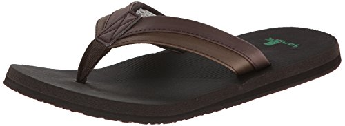 Sanuk Men's Beer Cozy Light Flip Flop, Dark Brown, 10 M US