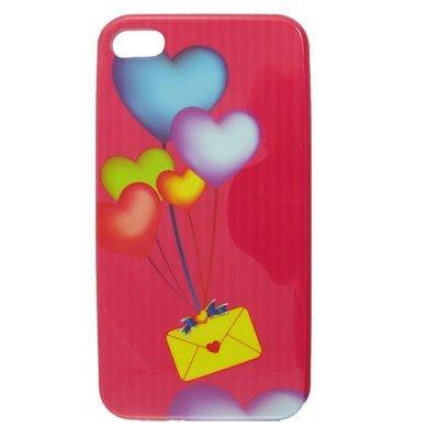 DealMux Red de plástico duro IMD corazón de sobres Volver Funda para el iPhone 4 4G