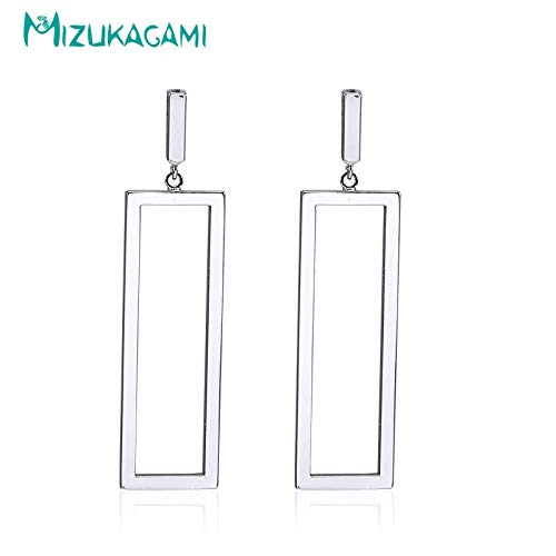 2018 Trendy Ruhed Real Earing Earring Imple and Fahionable Geometric Rectangle Earring Copper Travel Award Party (Silver Plated)