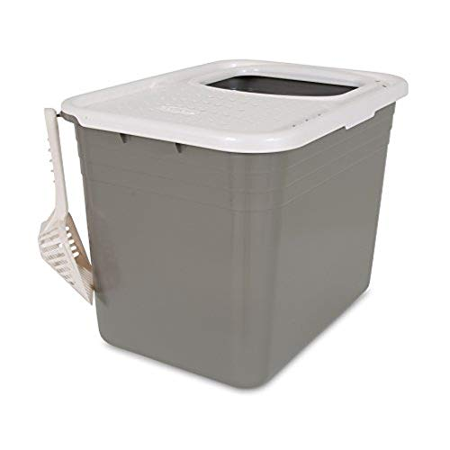 Petmate Top Entry Litter Pan Cat Litter Box Brushed Nickel/Pearl White