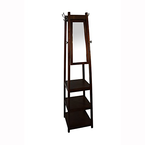 Ore International FW1394C 72'' 3-Tier Cherry Tower Shoe / Coat Rack & Mirror by ORE