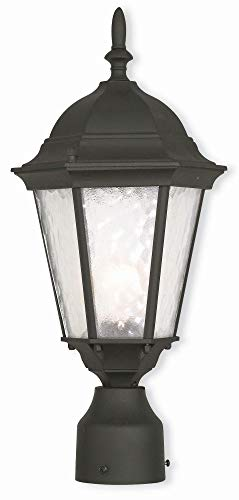 Livex Lighting 75464-14 Hamilton - One Light Outdoor Post-Top Lantern, Textured Black Finish with Clear Water Glass