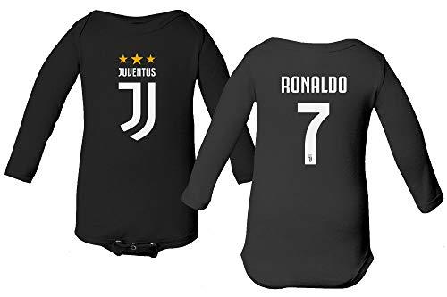 3612342cc93 Spark Apparel Soccer Shirt  7 Cristiano Ronaldo Juve CR7 Little Infant Baby  Long Sleeve Bodysuit (Black