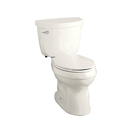 (KOHLER K-3589-96 Cimarron Comfort Height Elongated 1.6 gpf Toilet with AquaPiston Technology, Less Seat, Biscuit)