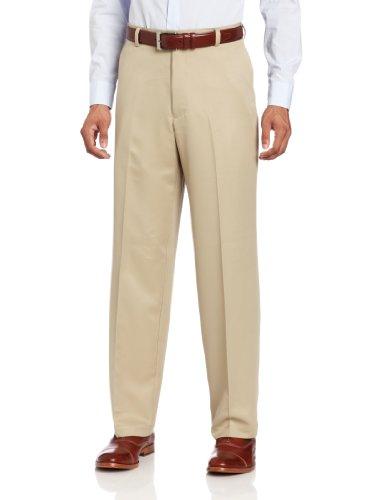 IZOD Men's Flat Front Classic Fit Microsanded Golf Pant, R. Khaki, 33W x 30L