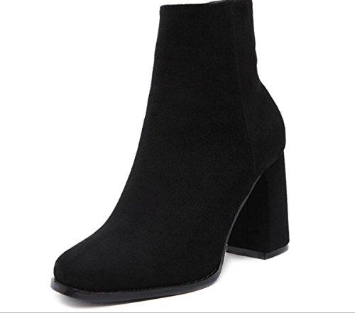 Ruvida moda retro donne YCMDM è con-tacco alto scarpe stivali Singolo , black , 38