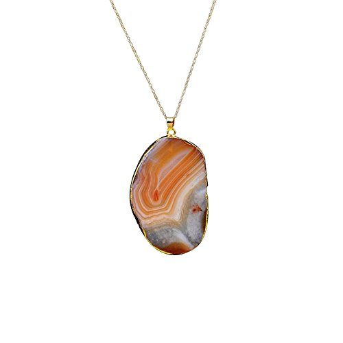 Clearance!1PC Women Girls Natural Stone Crystal Gold Plated Pendant Necklace by Kimloog (Orange) ()