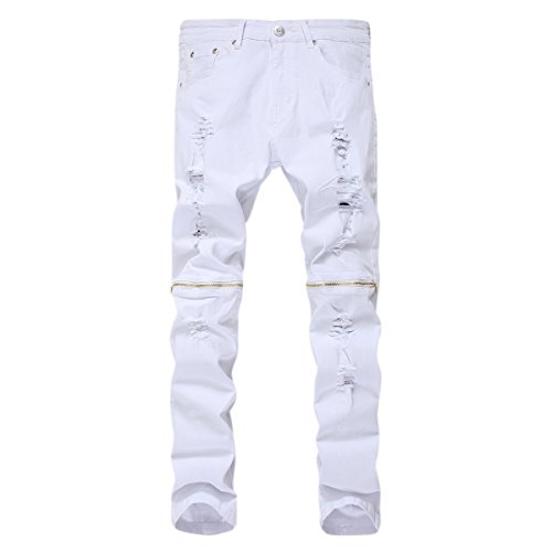 Pishon Men's Ripped Jeans Casual Straight Leg Zippered Stretch Distressed Jeans, White, Tag Size 38=US Size 36
