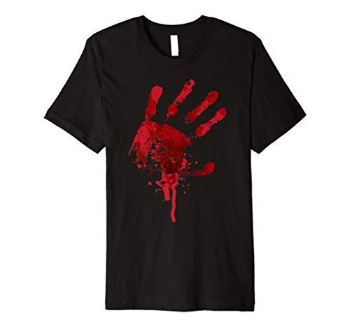 Happy Halloween Bloody Hand Print Tshirt Costume - Gag Gift ()