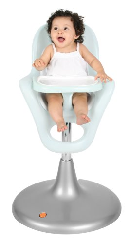 Boon Flair Pneumatic Pedestal Highchair   Frosty Blue And White  (Discontinued By Manufacturer)