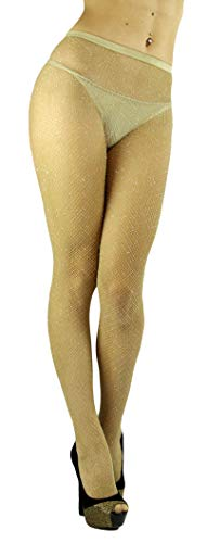 ToBeInStyle Women's Spandex Seamless Glittery Fishnet Pantyhose Tights Hosiery - Beige With Silver Glitter - One Size: Regular -