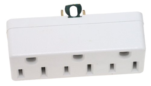 Adapter Cyberpower (Leviton 698-W Not Available 698-W-15 Amp, 125 Volt, Grounding Triple Outlet Adapter, White, 1 Pack)