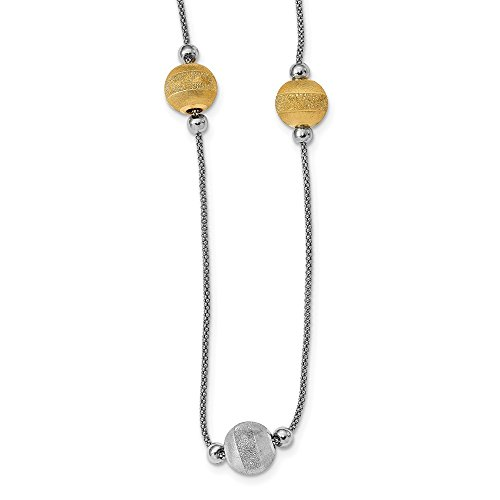 Sterling Silver Yellow Rhodium Polished and Laser Cut Bead Necklace - 26 Inch