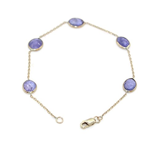 Tanzanite Bracelet with 14k Yellow Gold, 7 Inches 14k Yellow Gold Tanzanite Bracelet