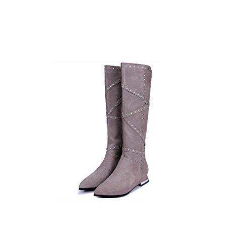 femminile pelle donna Moda ginocchio bassa Martin cerniera 39 il temperamento della sopra tacchi stivali gray alti di Bootie lato scrub qxAqYRnz7w