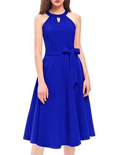 - DRESSTELLS Women's Cocktail Party Dress Bridesmaid Swing Vintage Tea Dress with Cap-Sleeves RoyalBlue XS