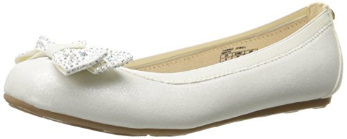 Stuart Weitzman Fannie Jewel Ballet Flat with Bow (Little Kid/Big Kid), White, 5 M US Big (Stuart Weitzman Bow)