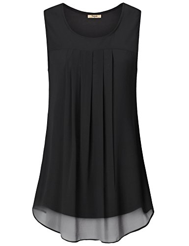 (Timeson Sleeveless Blouses for Women,Chiffon Tank Top for Women, Womens Round Neck Tank Tops Sleeveless Loose Fit Summer Tunic Top for Leggings Black Large)