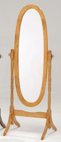 - Roundhill Furniture Traditional Queen Anna Style Wood Floor Cheval Mirror, Oak Finish