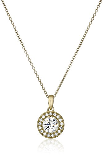 Collection Gold Jewelry (Yellow Gold Plated Sterling Silver Halo Pendant Necklace set with Round Cut Swarovski Zirconia, 16