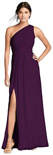 - Long One-Shoulder Crinkle Chiffon Bridesmaid Dress Style F18055, Plum, 16