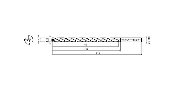 Mitsubishi Materials MWS0540X15DB MWS Series Solid Carbide Drill Internal Coolant 1 mm Point Length 6 mm Shank Dia. 5.4 mm Cutting Dia 15 mm Hole Depth