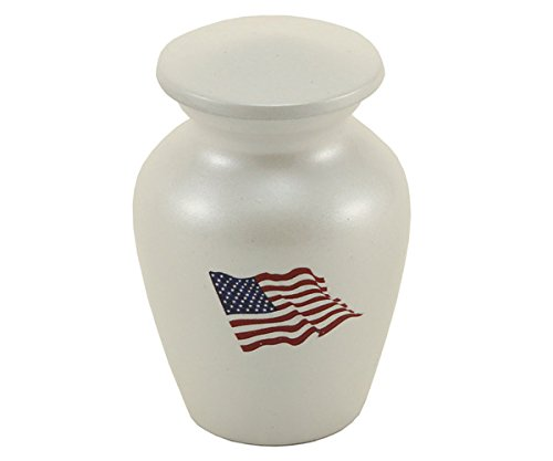 OneWorld Memorials Red, White and Blue Flag Bronze Keepsake Urns - Extra Small - Holds Up to 3 Cubic Inches of Ashes - White Cremation Urn for Ashes - Engraving Sold Separately