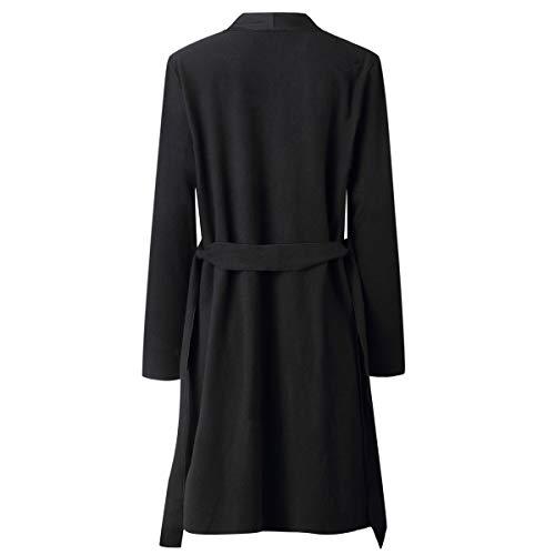 Longues Manteau de Simple Tops Hauts Jeune Noir Blousons Bandage Fashion Veste Hiver Casual Cardigan Coat avec Automne Pardessus Mode Laine Femmes Manches Outwear Pulls qwITIpX