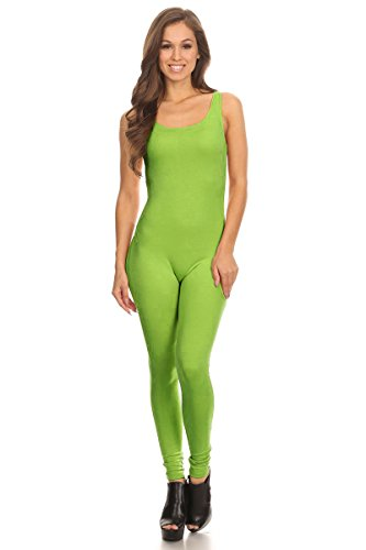 - Women's Scoop Neck Sleeveless Stretch Cotton Jersey Unitard Bodysuits Lime Large