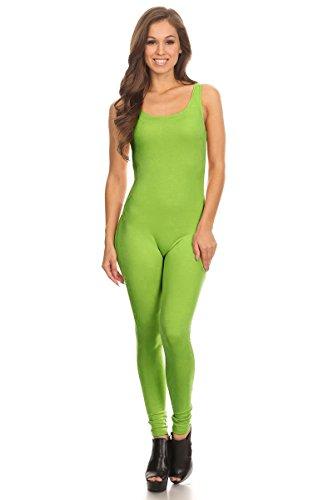 Women's Scoop Neck Sleeveless Stretch Cotton Jersey Unitard Bodysuits Lime -
