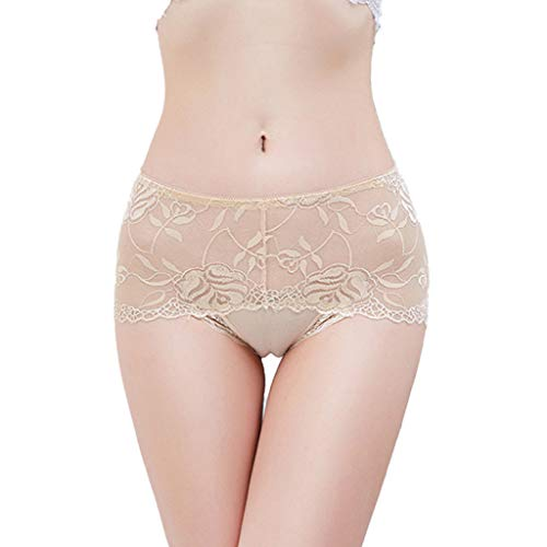 KLFGJ Womens Sexy Panties,Lingeries Ladies Briefs Lace Lingerie Underwear Floral Underpants (Khaki,XL)
