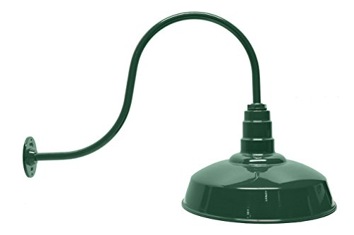 200 Watt 16 Inch Standard Steel Dome | Large 29-1/2 Inch Gooseneck | Barn Light (Green)
