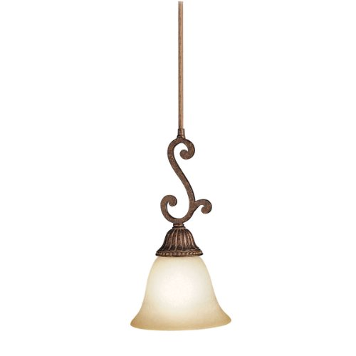 Kichler Lighting 2703TZG 1-Light Larissa Incandescent Mini Pendant, Tannery Bronze