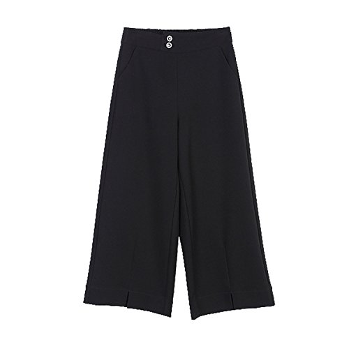 Unique-Shop Black was Thin Elastic Waist high Waist Wide Leg Pants Pants Shorts Casual Pants Ladies Pants 17615, -